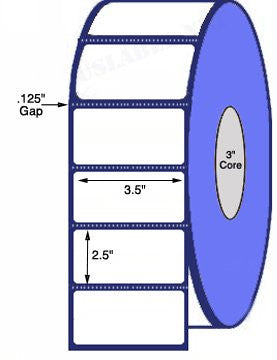 3 1/2'' x 2 1/2'' - 2,500 Labels on a 8'' O.D. on 3'' core roll 10,000 Labels - uslabel.net - The Label Resource Center