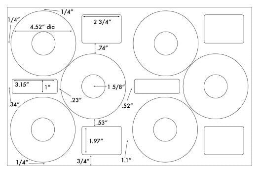 US8080 - 4.52'' Diameter - 6 up on a 11'' x 17'' sheet - 6,000 labels.