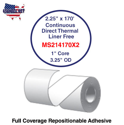 2.25'' x 170' Continuous Direct Thermal liner free 1'' Core-3.25''OD