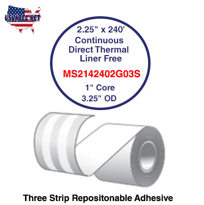 2.25'' x 240' Continuous Direct Thermal liner free 1'' Core-3.25''OD