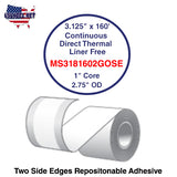 3.125'' x 160' Continuous Direct Thermal liner free 1'' Core-2.75''OD
