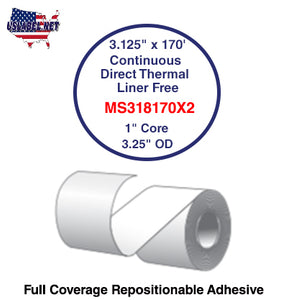 3.125'' x 170' Continuous Direct Thermal liner free 1'' Core-3.25''OD