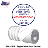 3.125'' x 240' Continuous Direct Thermal liner free 1'' Core-3.25''OD