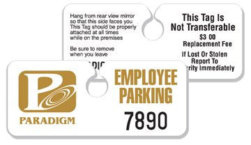 2 3/4'' x 4 3/4'' - .015 inch Hidden Hang Tag Parking Permit - Minimum 125 per unit