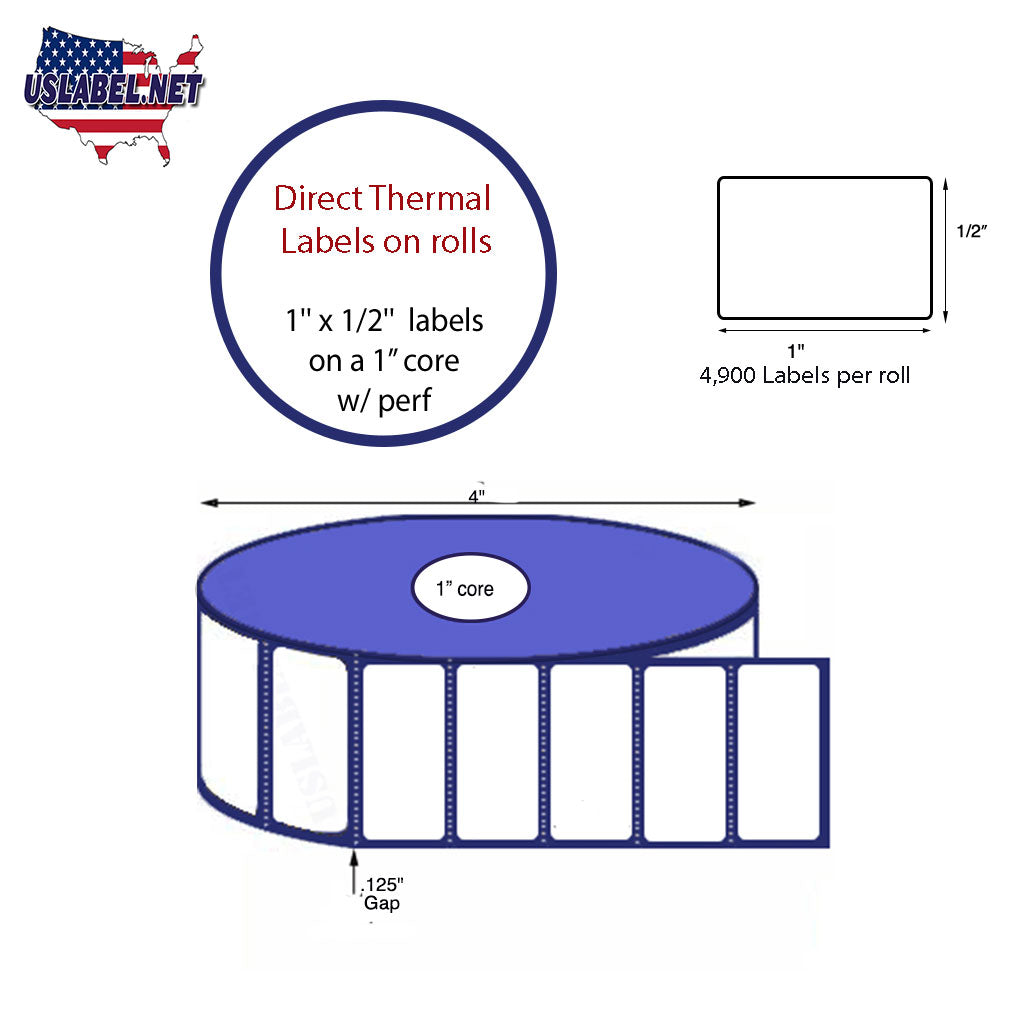 1'' x 0.5'' Direct Thermal Labels on a 1'' Core  - 4'' OD - uslabel.net - The Label Resource Center
