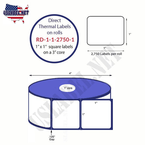 RD-1-1-2750-1- 1''x1''- Premium Direct Thermal Labels on 1'' core