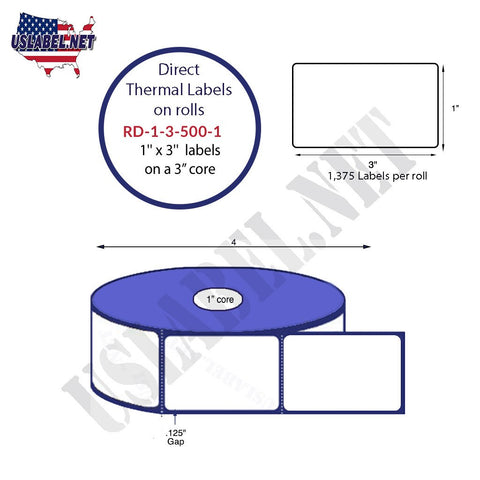 RD-1-3-500-1 -1''x 3'' Direct Thermal Labels 500 labels on a 4'' O.D. 1'' core