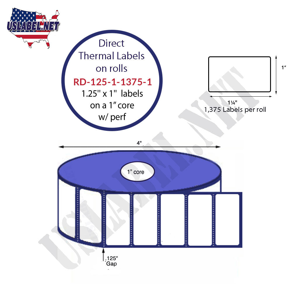 "1.25"" x 1"" Premium Direct Thermal 1,375 Labels - 4"" O.D. on 1"" core 16,500 labels. - uslabel.net - The Label Resource Center"