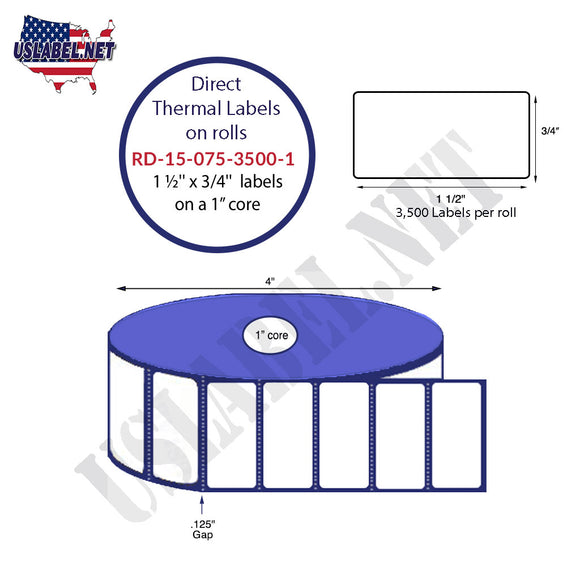 1.5'' x 0.75'' Direct Thermal Labels on a 1'' Core  4'' OD - uslabel.net  America's label store.