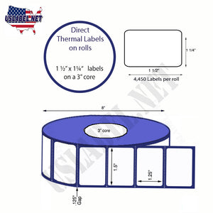 1.5'' x 1.25'' Direct Thermal Labels on a 3'' Core  8''OD - uslabel.net  America's label store.