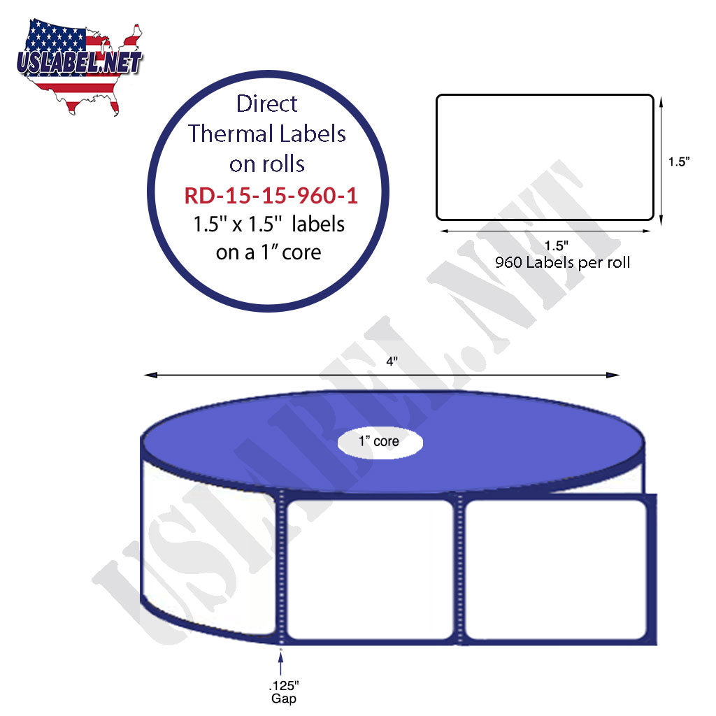 "1.5"" x 1.5"" Premium Direct Thermal 960 Labels - 4"" O.D. on 1"" core 11,520 labels. - uslabel.net - The Label Resource Center"