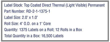 2'' x 1'' Top Coated Direct Thermal Labels 1,375 on a 4'' O.D. 1'' core