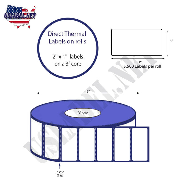 1.5'' x 1'' Direct Thermal Labels on a 3'' Core  - 8'' OD - uslabel.net  America's label store.