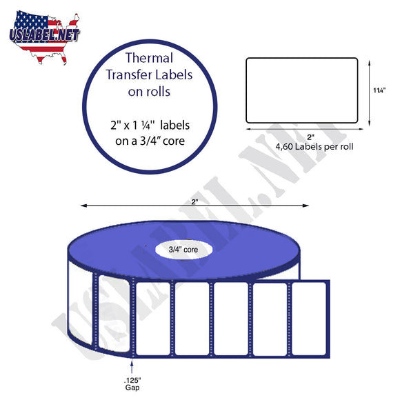 2'' x 1.25'' Direct Thermal Labels on a 0.75'' Core  - 2'' OD - uslabel.net  America's label store.