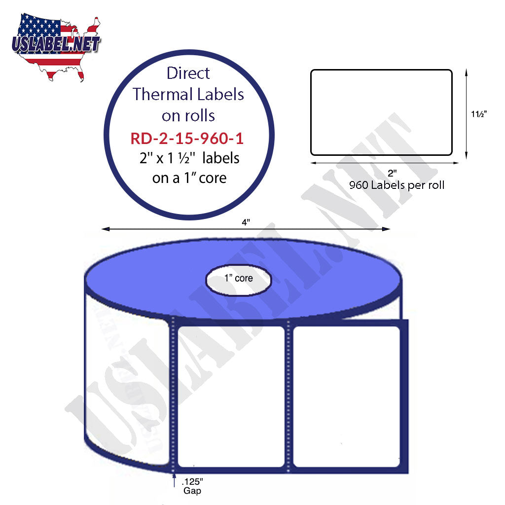 "2.5"" x 1.5"" Premium Direct Thermal 960 Labels - 4"" O.D. on 1"" core 11,520 labels. - uslabel.net - The Label Resource Center"