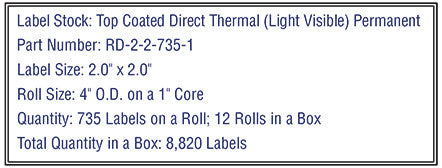 2'' x 2'' Premium Direct Thermal 735 Labels-4'' O.D. on 1'' core 8,820 labels.