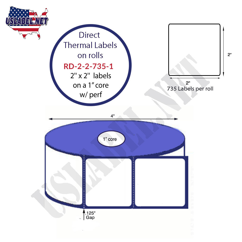 2'' x 2'' Premium Direct Thermal 735 Labels-4'' O.D. on 1'' core 8,820 labels. - uslabel.net - The Label Resource Center