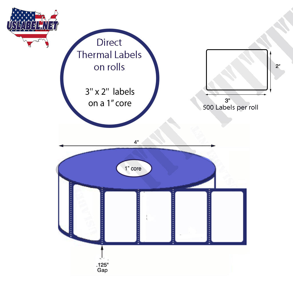2'' x 3'' Direct Thermal Labels on a 1'' Core  - 4'' OD - uslabel.net - The Label Resource Center