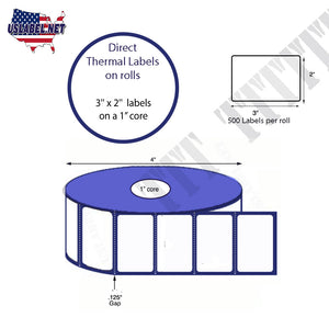2'' x 3'' Direct Thermal Labels on a 1'' Core  - 4'' OD - uslabel.net  America's label store.