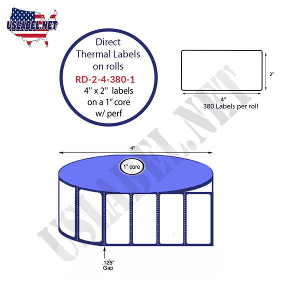 2'' x 4'' Direct Thermal Labels on a 1'' Core  - 4'' OD - uslabel.net  America's label store.