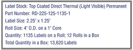 "2.25"" x 1.25"" Premium Direct Thermal 1,135 Labels - 4"" O.D. on 1"" core 13,620 labels."