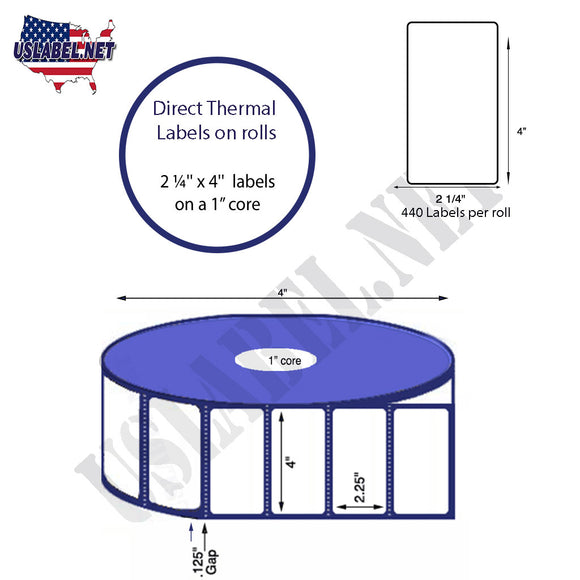 2.25'' x 4'' Direct Thermal Labels on a 1'' Core  - 4'' OD - uslabel.net  America's label store.