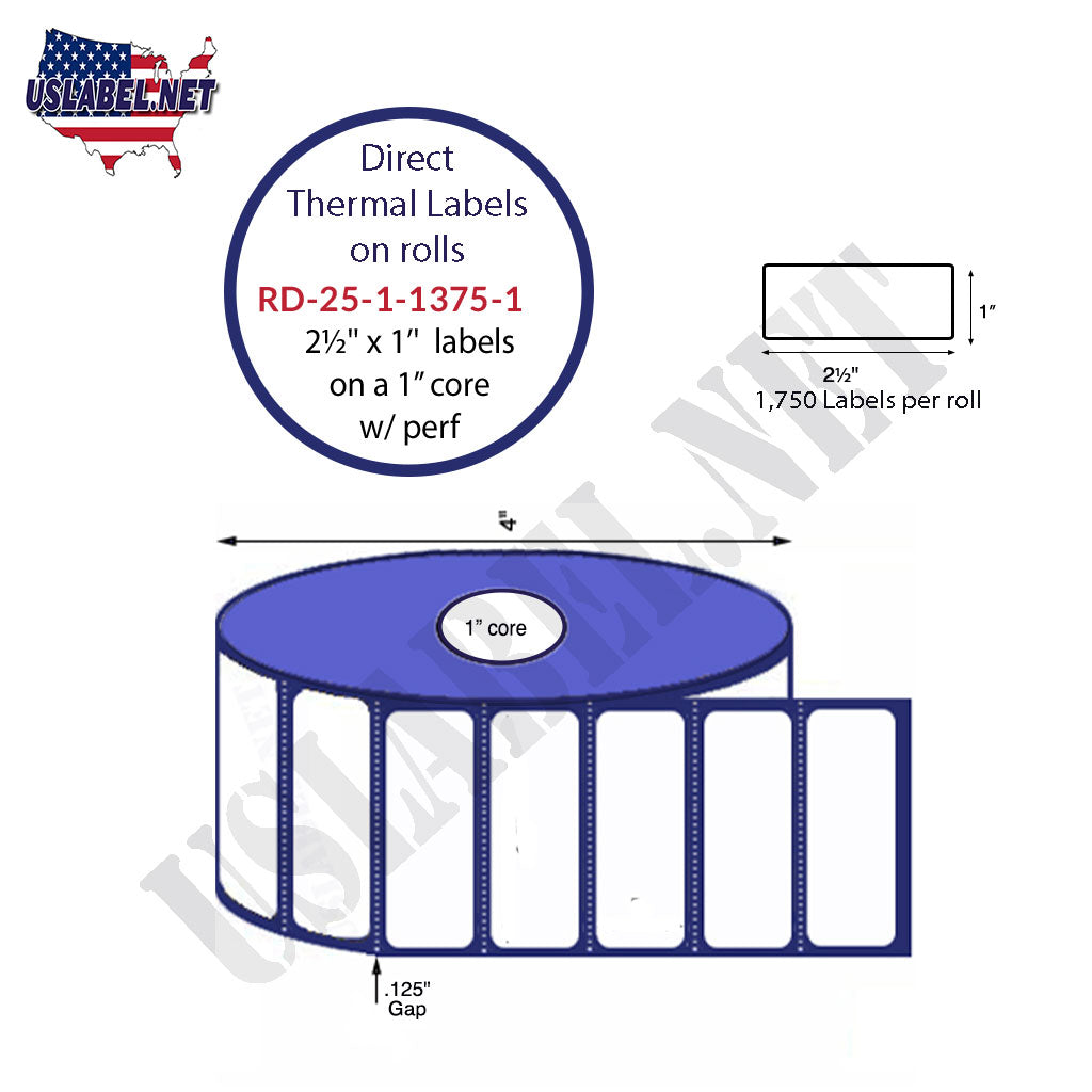 "2.5"" x 1"" Premium Direct Thermal 1,375 Labels - 4"" O.D. on 1"" core 16,500 labels. - uslabel.net - The Label Resource Center"