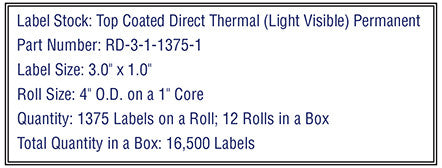 3'' x 1'' Premium Direct Thermal 1,375 Labels-4'' O.D. on 1'' core 16,500 labels.