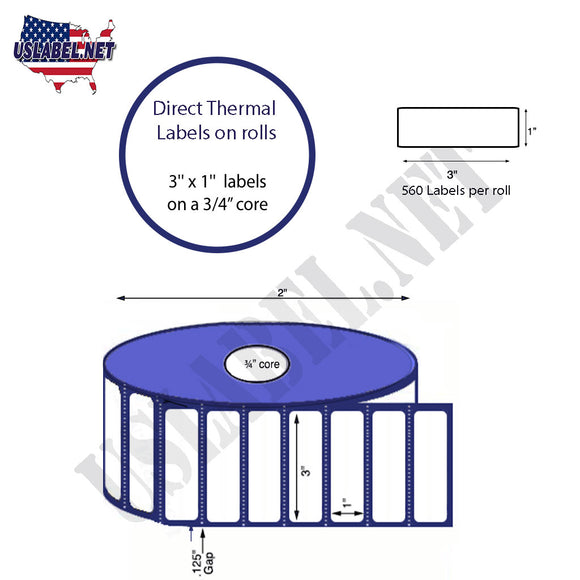 3'' x 1'' Direct Thermal Labels on a 0.75'' Core  - 2'' OD - uslabel.net  America's label store.