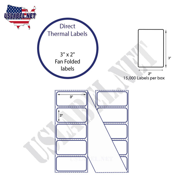 3'' x 2'' Direct Thermal Labels in a Fan Fold stack - uslabel.net  America's label store.