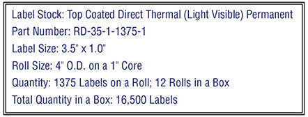 "3.5"" x 1"" Premium Direct Thermal 1,375 Labels - 4"" O.D. on 1"" core 16,500 labels."