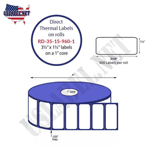 3.5'' x 1.5'' Direct Thermal Labels on a 1'' Core  - 4'' OD - uslabel.net  America's label store.