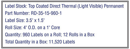 "3.5"" x 1.5"" Premium Direct Thermal 960 Labels - 4"" O.D. on 1"" core 11,520 labels."