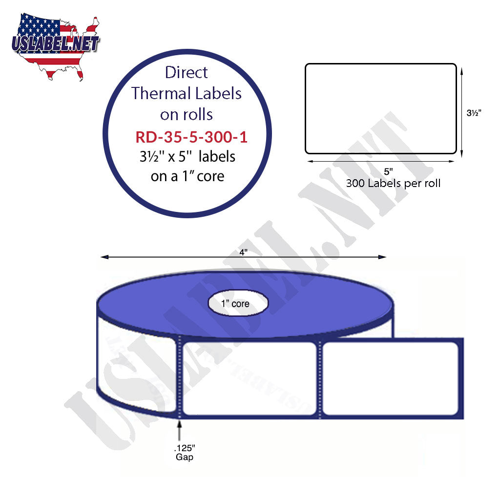 "3.5"" x 5"" Premium Direct Thermal 300 Labels-4"" O.D. on 1"" core 3,600 labels. - uslabel.net - The Label Resource Center"