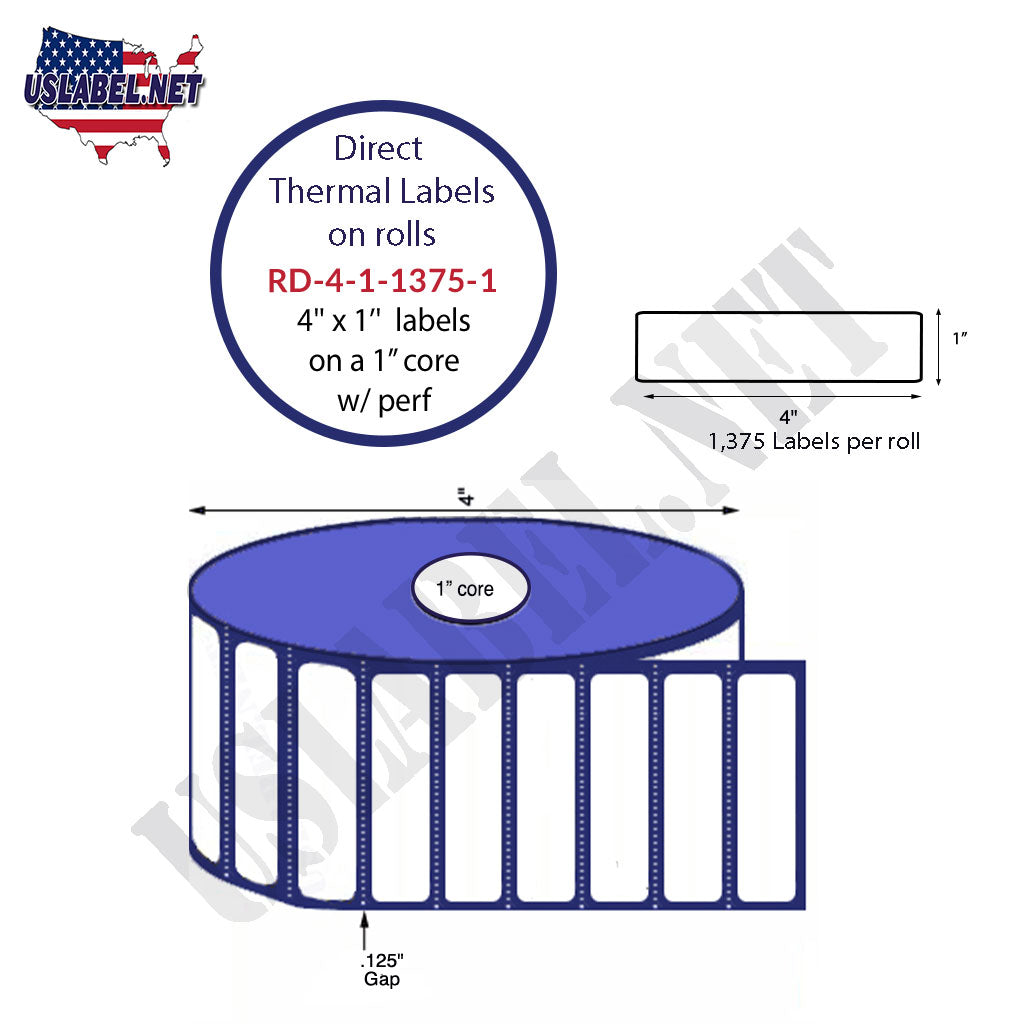 4'' x 1'' Premium Direct Thermal Labels 1,375-4'' O.D. on 1'' core 16,500 Labels. - uslabel.net - The Label Resource Center