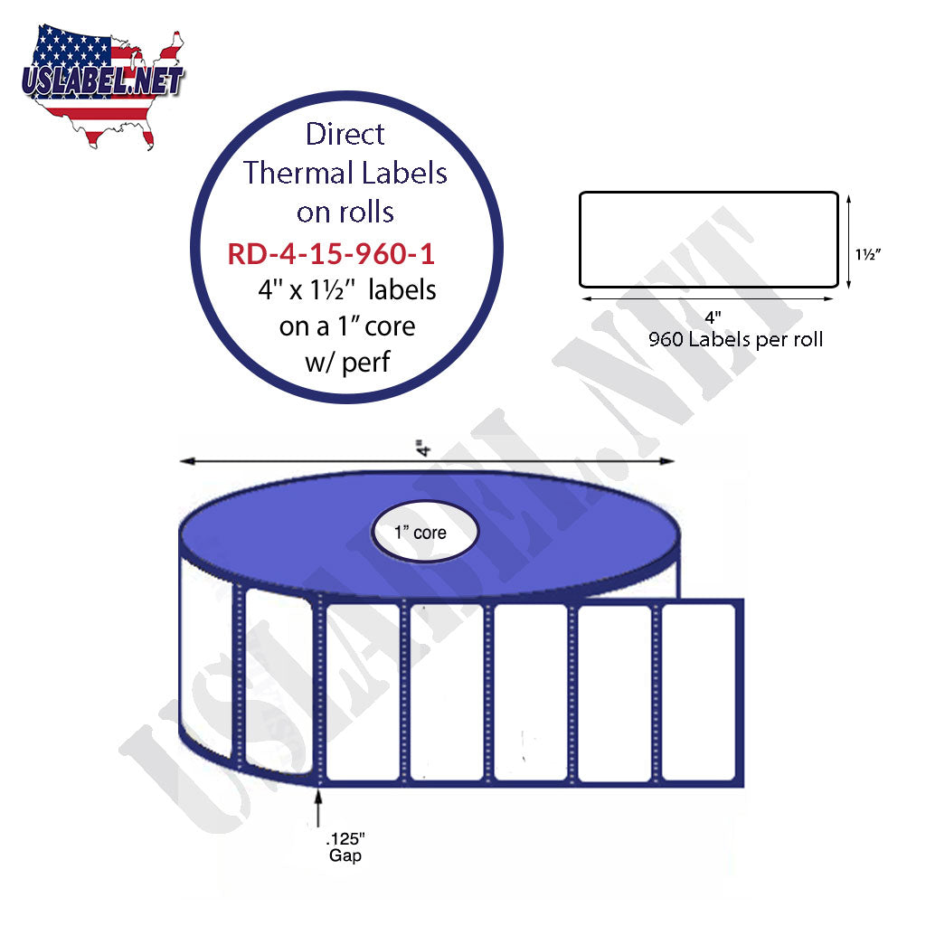 4'' x 1.5'' Premium Direct Thermal 960 Labels-4'' O.D. on 1'' core 11,520 labels. - uslabel.net - The Label Resource Center