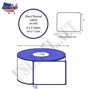 4'' x 5'' Direct Thermal Labels on a 1'' Core  - 4'' OD - uslabel.net  America's label store.