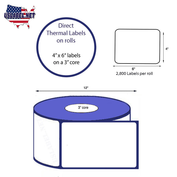 4'' x 6'' Direct Thermal Labels on a 3'' Core  - 12'' OD - uslabel.net  America's label store.