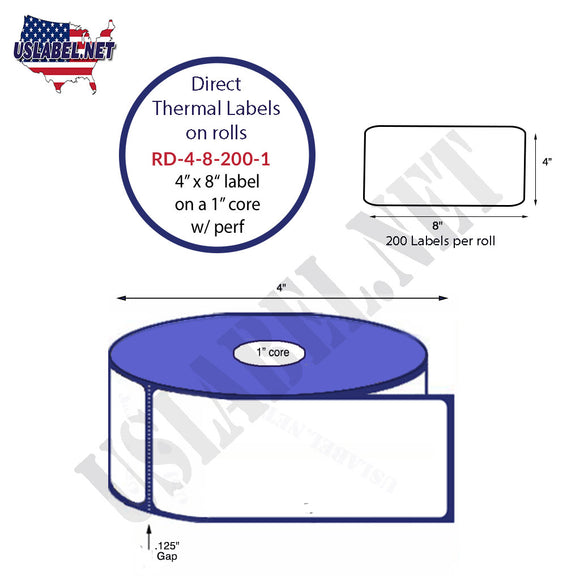 4'' x 8'' Direct Thermal Labels on a 1'' Core  - 4'' OD - uslabel.net  America's label store.