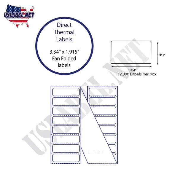 3.34'' x 1.915'' Direct Thermal Labels 7 pt. Direct Thermal Tag Stock, Postal Bag and Tray Tags, Fanfold - uslabel.net  America's label store.