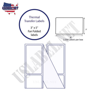 3'' x 5''   Thermal Transfer Labels in a Fan Fold Stack - uslabel.net  America's label store.