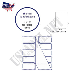 4'' x 1.5''   Thermal Transfer Labels in a Fan Fold Stack - uslabel.net  America's label store.
