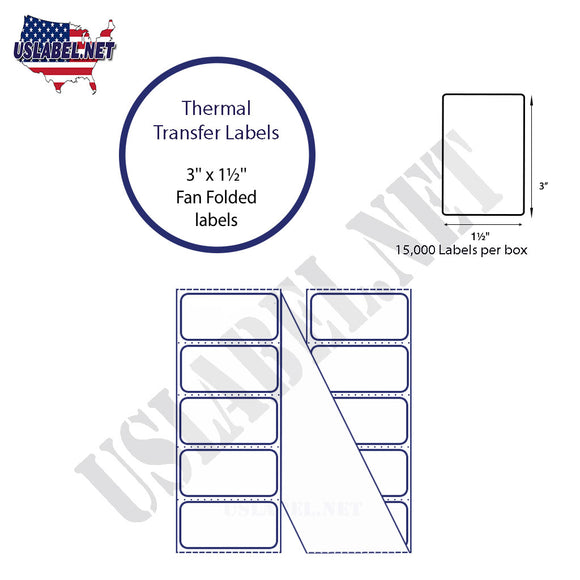 3'' x 1.5''   Thermal Transfer Labels in a Fan Fold Stack - uslabel.net  America's label store.