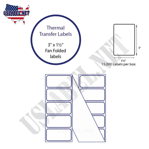 3'' x 1.5''   Thermal Transfer Labels in a Fan Fold Stack