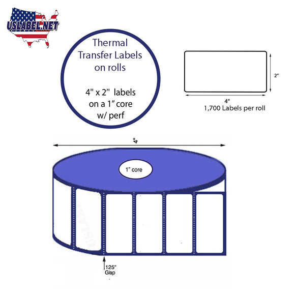 4'' x 2''   Thermal Transfer Labels on a 1 '' Core — 5 '' OD - uslabel.net  America's label store.
