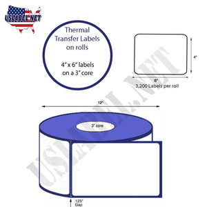 4'' x 6''   Thermal Transfer Labels on a 3 '' Core — 12 '' OD - uslabel.net  America's label store.