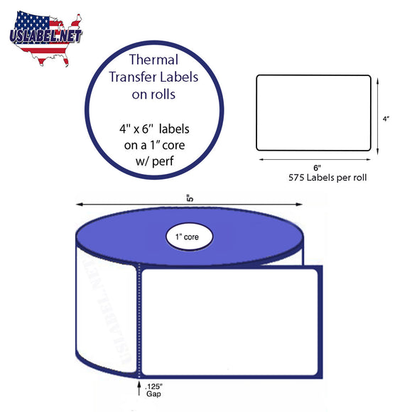 4'' x 6''   Thermal Transfer Labels on a 1 '' Core — 5 '' OD - uslabel.net  America's label store.