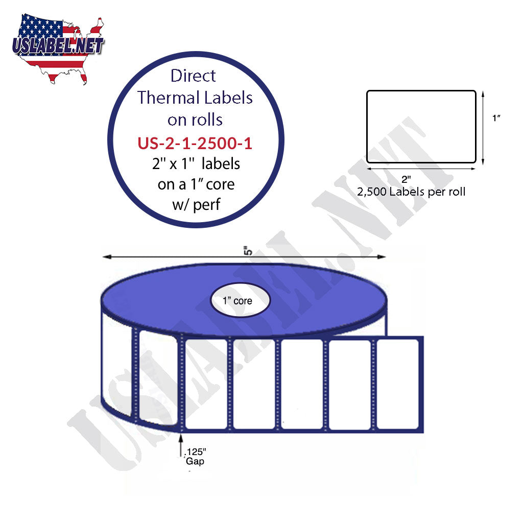 2''x1'' Premium Direct Thermal 2,500 Labels-5'' O.D. on 1'' core 30,000 labels. - uslabel.net - The Label Resource Center