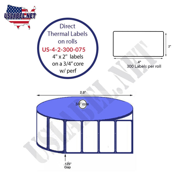4'' x 2'' Direct Thermal Labels on a 0.75'' Core  - 2'' OD - uslabel.net  America's label store.