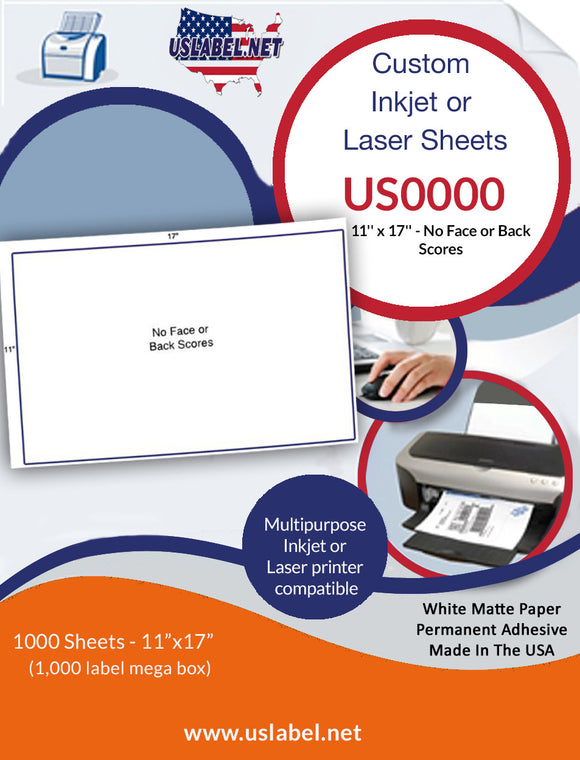 US0000 - 11'' x 17'' - 1,000 labels - No Face or Back Scores. - uslabel.net  America's label store.